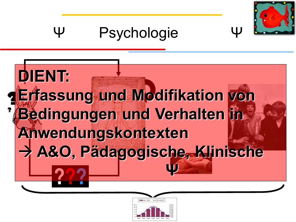 Ψ Psychologie Ψ DIENT: Erfassung und Modifikation von Bedingungen und Verhalten in Anwendungskontexten  A&O, Pädagogische, Klinische Ψ.