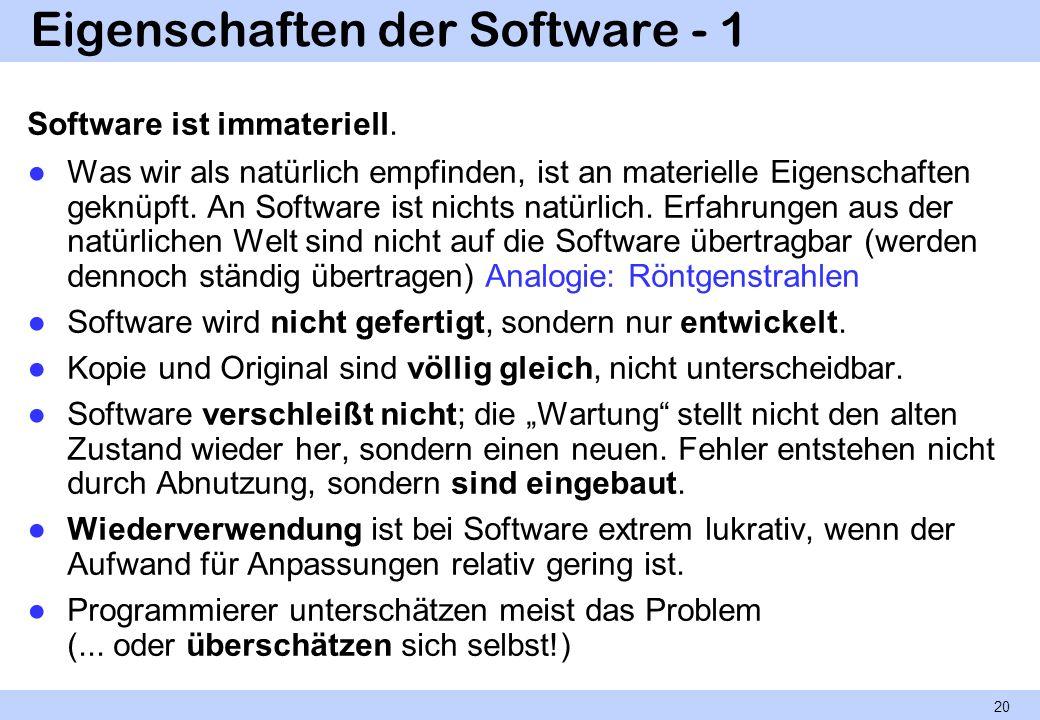 Eigenschaften der Software - 1