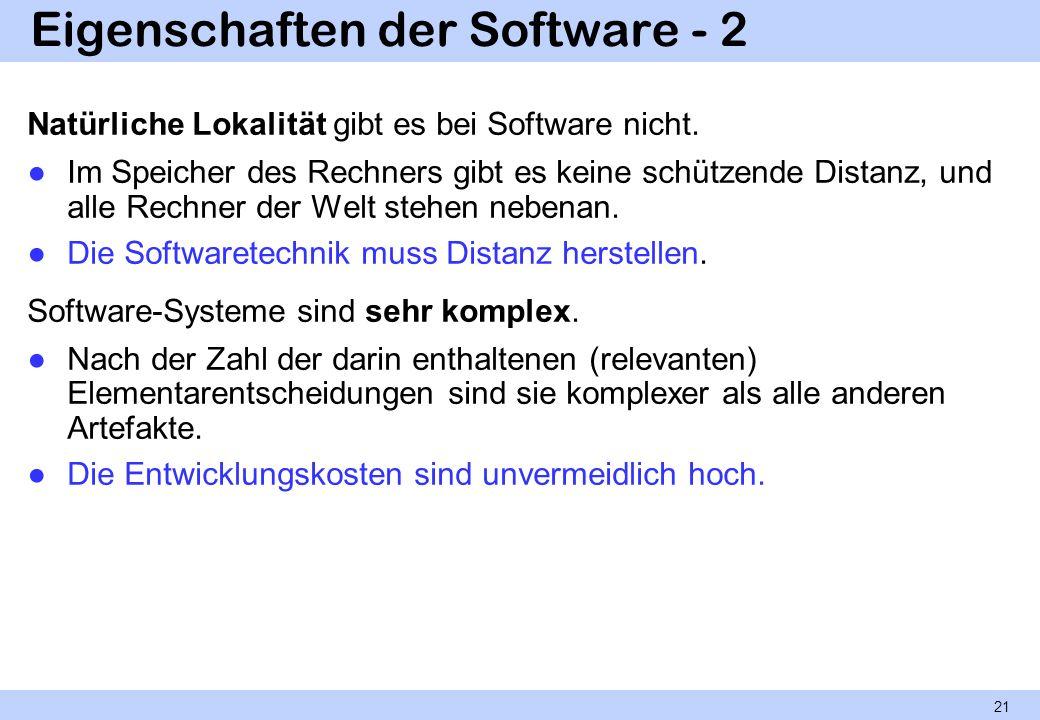 Eigenschaften der Software - 2