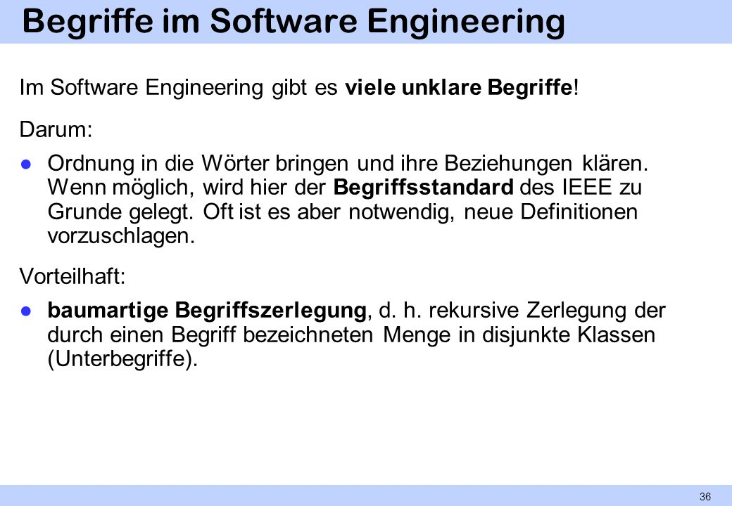 Begriffe im Software Engineering