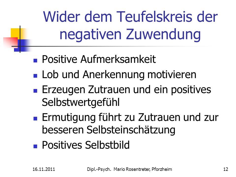 Wider dem Teufelskreis der negativen Zuwendung