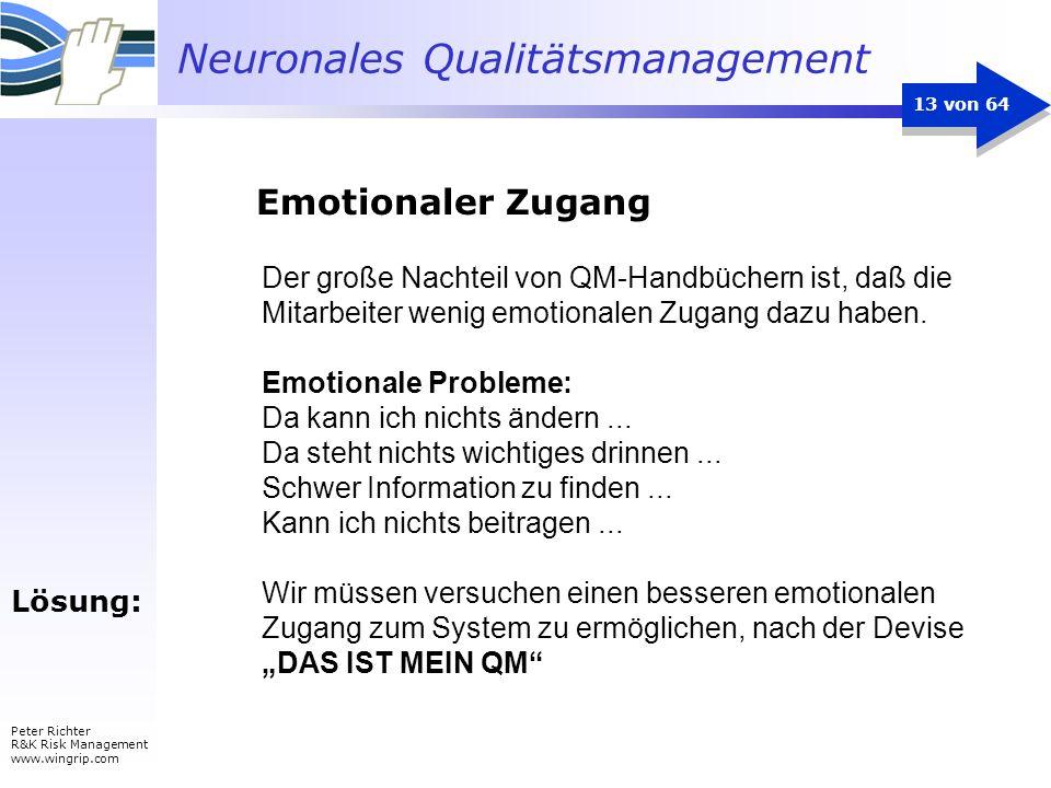 Emotionaler Zugang Der große Nachteil von QM-Handbüchern ist, daß die Mitarbeiter wenig emotionalen Zugang dazu haben.