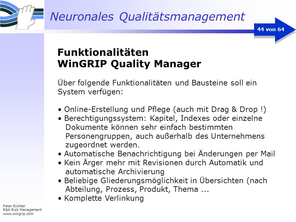 Funktionalitäten WinGRIP Quality Manager