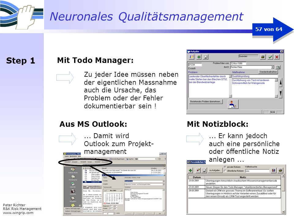 Step 1 Mit Todo Manager: Aus MS Outlook: Mit Notizblock: