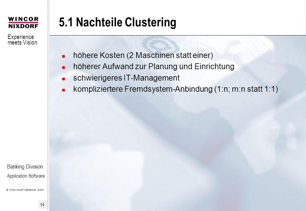 5.1 Nachteile Clustering höhere Kosten (2 Maschinen statt einer)