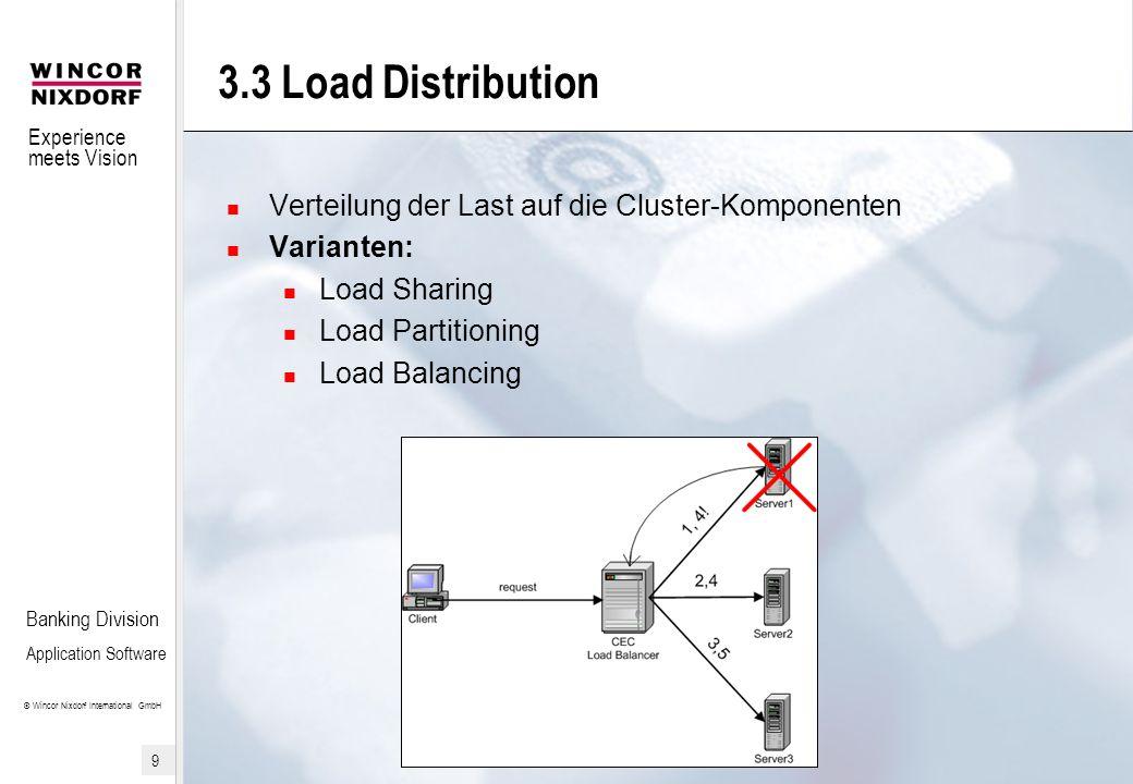 3.3 Load Distribution Verteilung der Last auf die Cluster-Komponenten