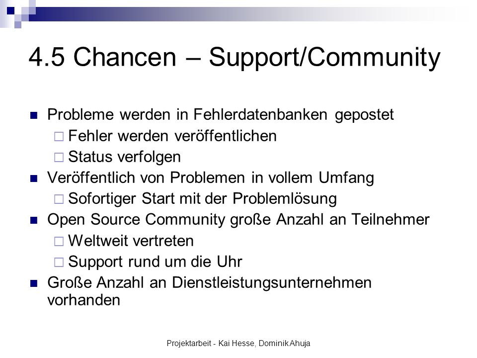 4.5 Chancen – Support/Community