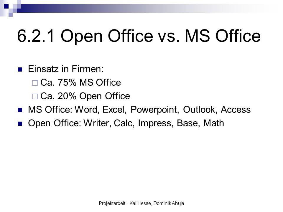 6.2.1 Open Office vs. MS Office