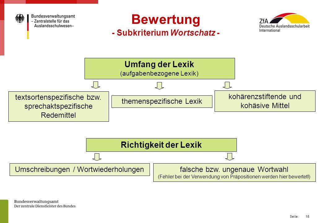 - Subkriterium Wortschatz -