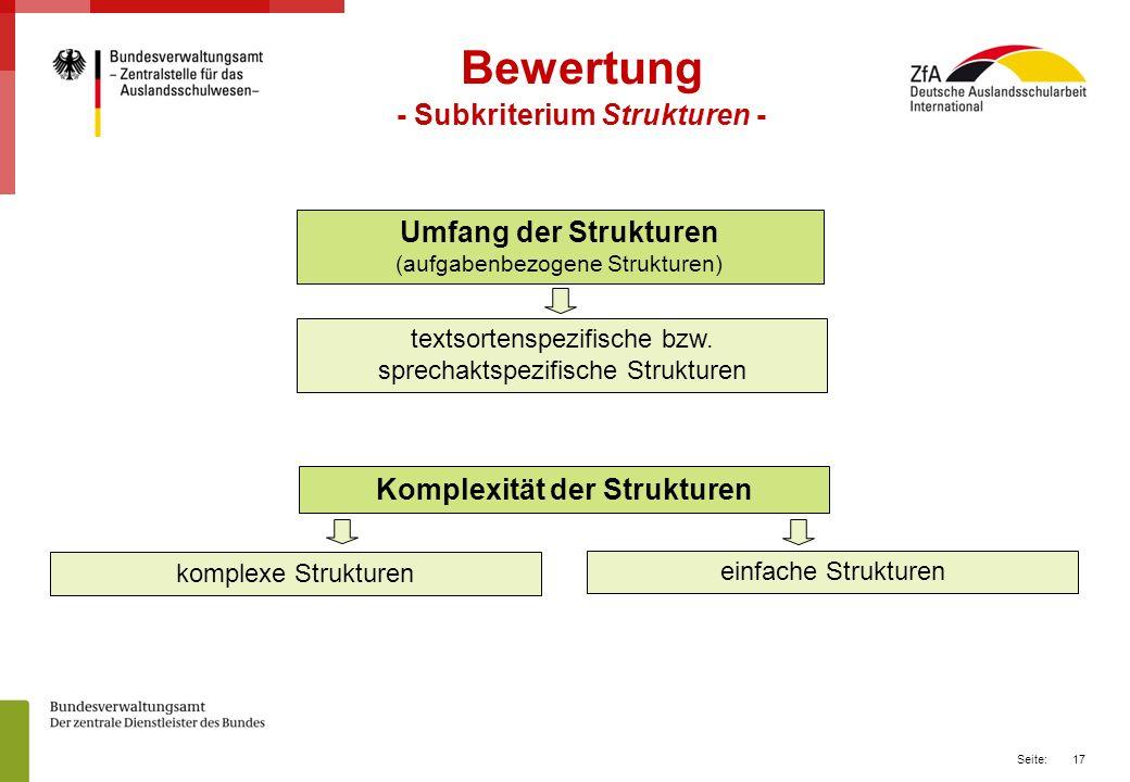 - Subkriterium Strukturen - Komplexität der Strukturen