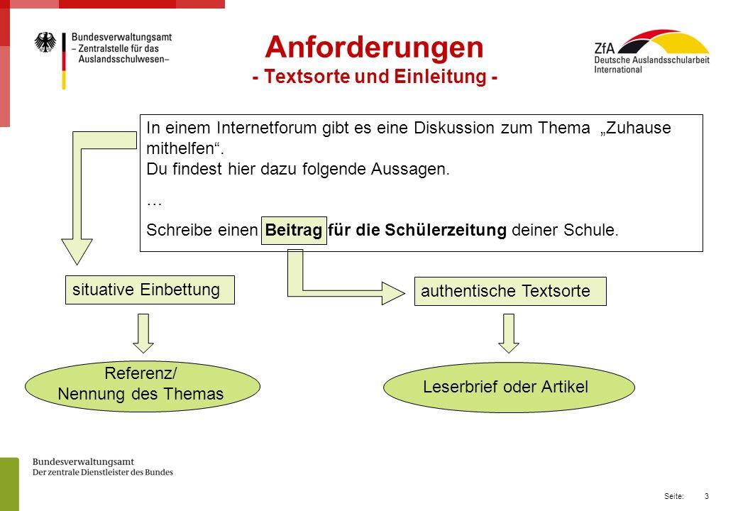 Anforderungen - Textsorte und Einleitung -