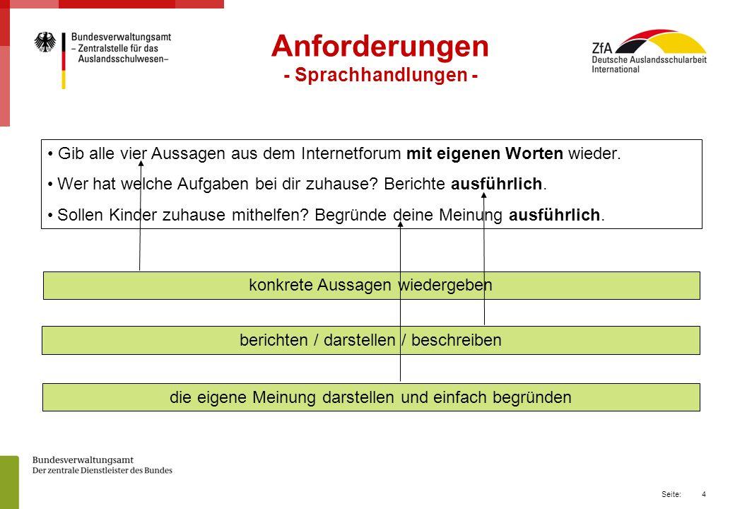 Anforderungen - Sprachhandlungen -