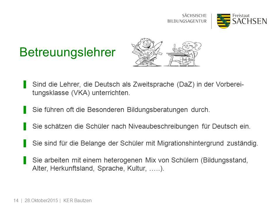 Betreuungslehrer Sind die Lehrer, die Deutsch als Zweitsprache (DaZ) in der Vorberei-tungsklasse (VKA) unterrichten.