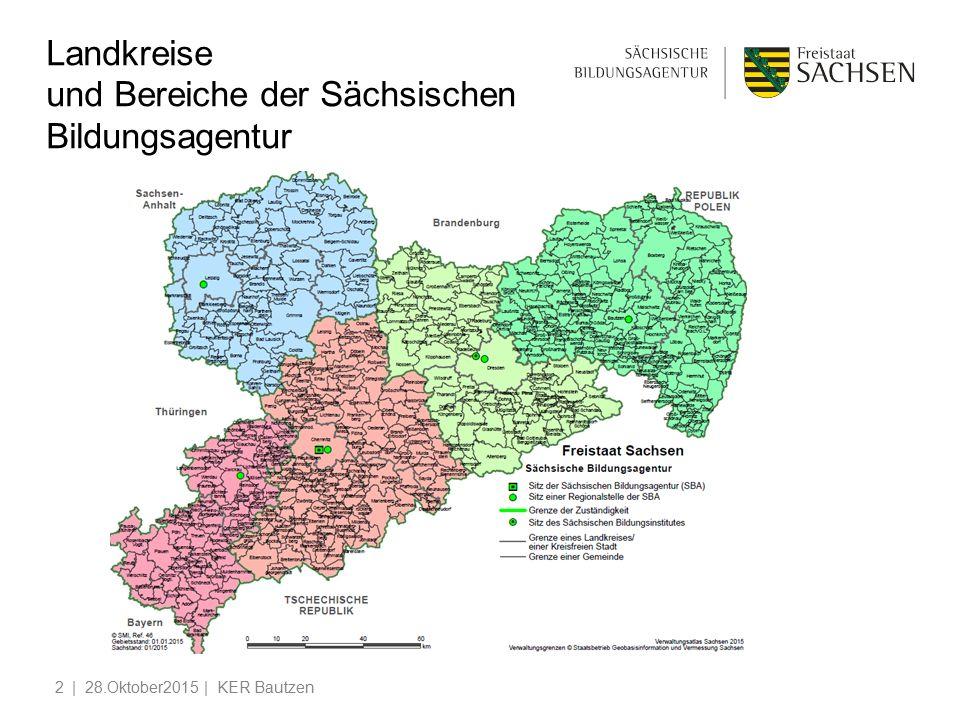 Landkreise und Bereiche der Sächsischen Bildungsagentur