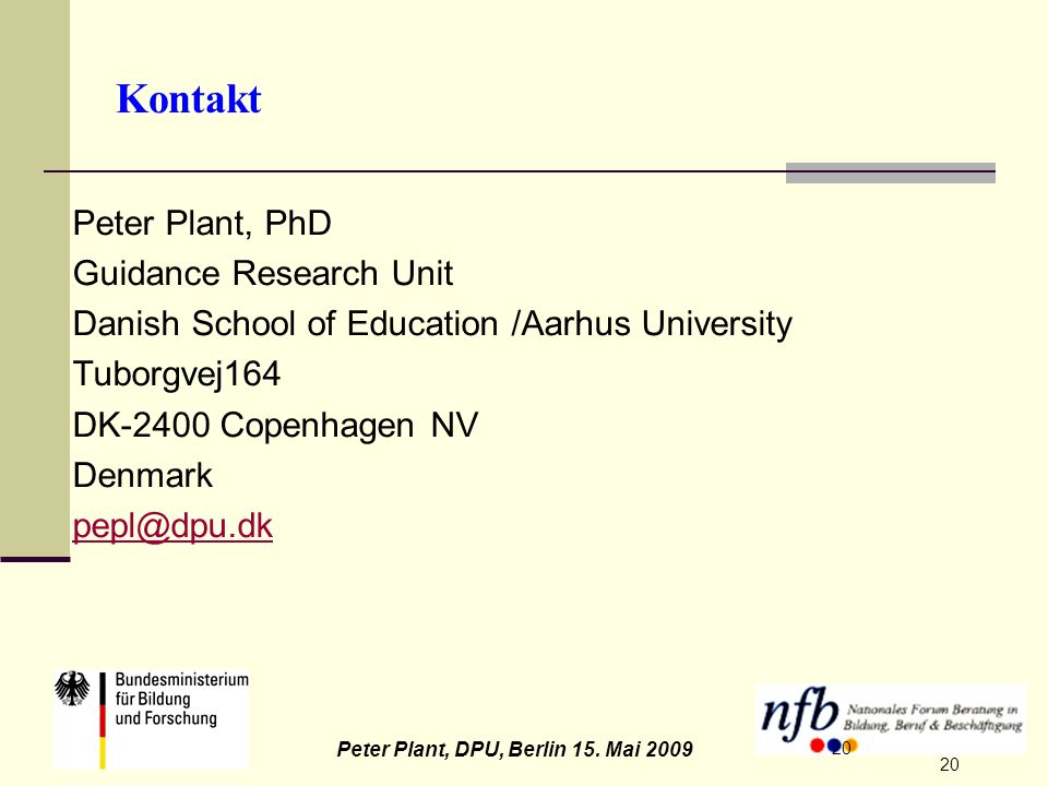 Kontakt Peter Plant, PhD Guidance Research Unit