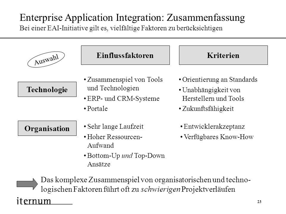 Enterprise Application Integration: Zusammenfassung Bei einer EAI-Initiative gilt es, vielfältige Faktoren zu berücksichtigen