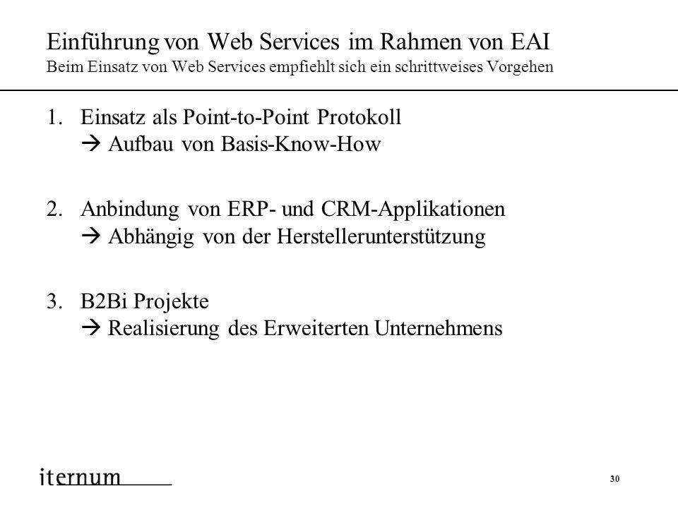 Einführung von Web Services im Rahmen von EAI Beim Einsatz von Web Services empfiehlt sich ein schrittweises Vorgehen