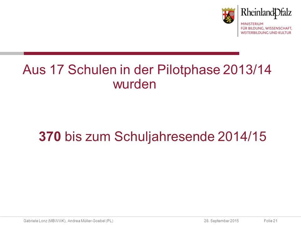 Aus 17 Schulen in der Pilotphase 2013/14 wurden