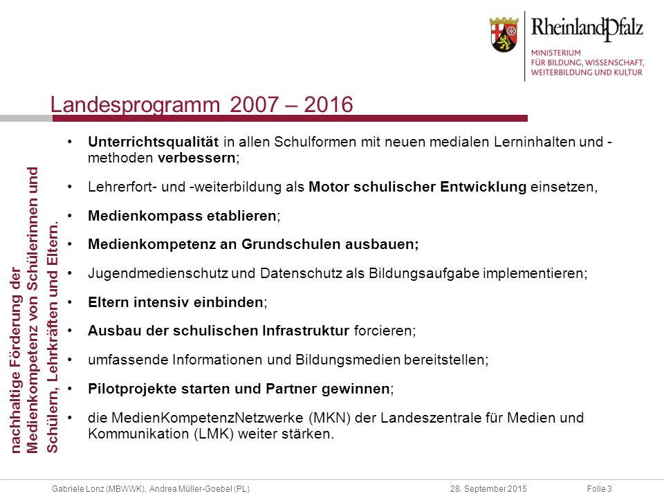 Landesprogramm 2007 – 2016 Unterrichtsqualität in allen Schulformen mit neuen medialen Lerninhalten und - methoden verbessern;