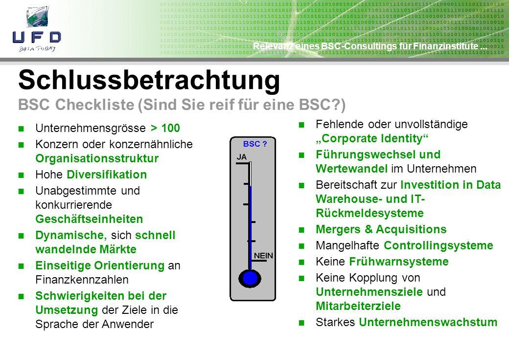 Schlussbetrachtung BSC Checkliste (Sind Sie reif für eine BSC )