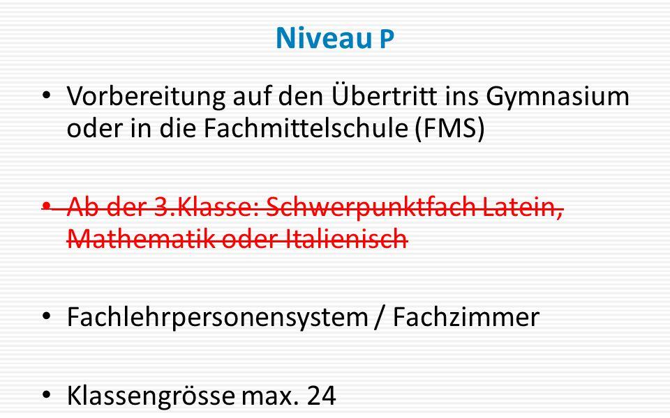 Niveau P Vorbereitung auf den Übertritt ins Gymnasium oder in die Fachmittelschule (FMS)