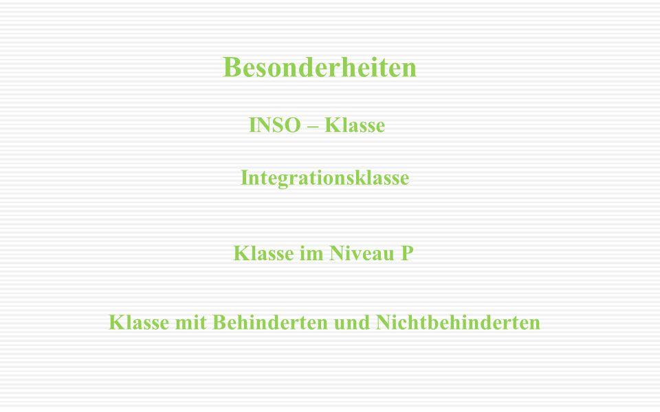 Besonderheiten INSO – Klasse Integrationsklasse Klasse im Niveau P