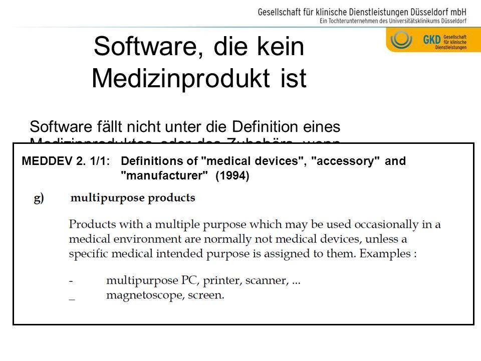 Software, die kein Medizinprodukt ist