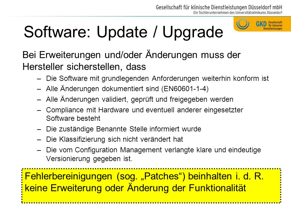Software: Update / Upgrade
