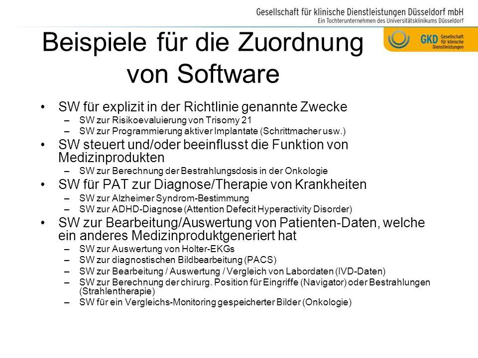 Beispiele für die Zuordnung von Software