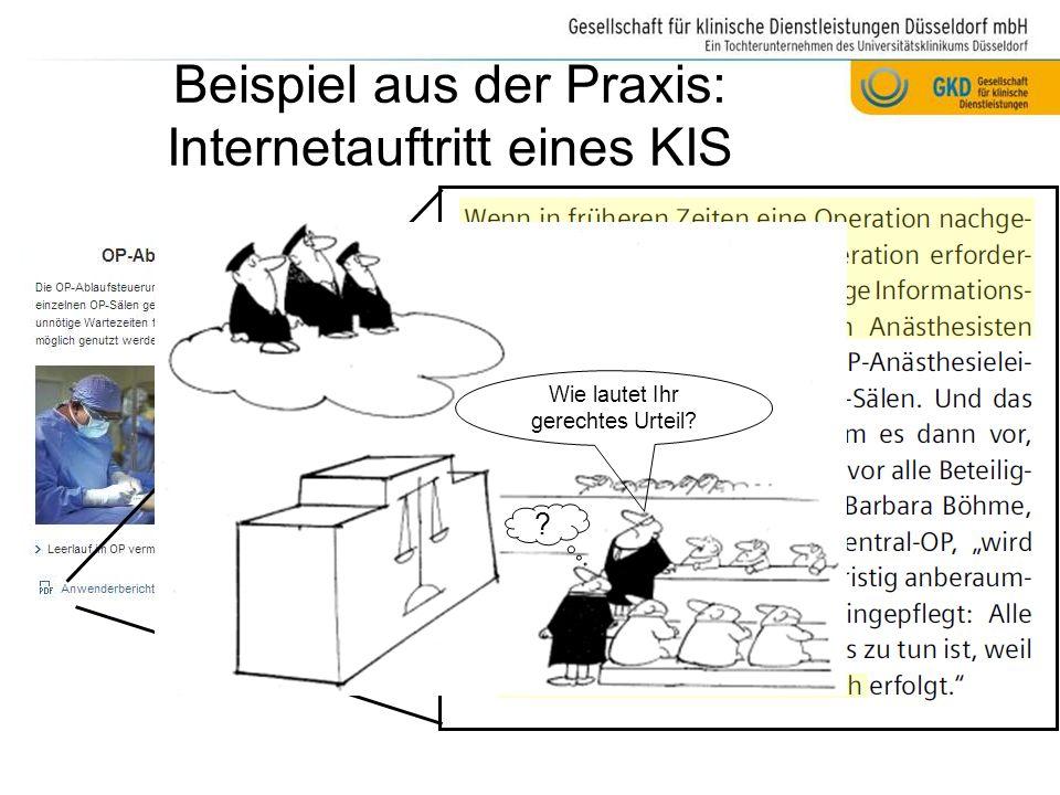 Beispiel aus der Praxis: Internetauftritt eines KIS
