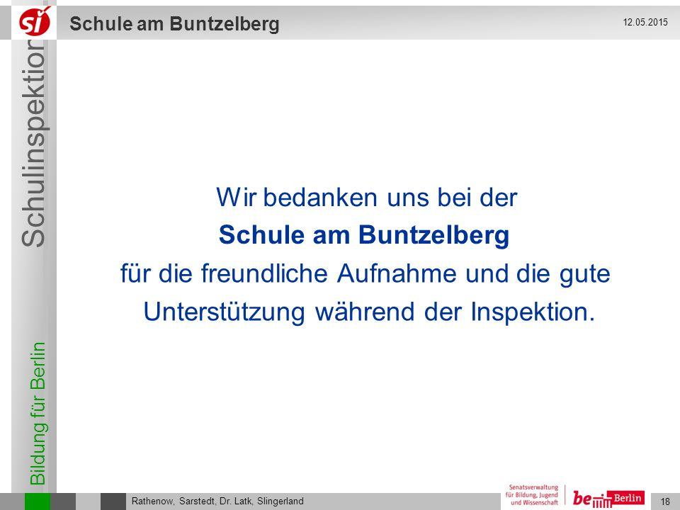 Wir bedanken uns bei der Schule am Buntzelberg