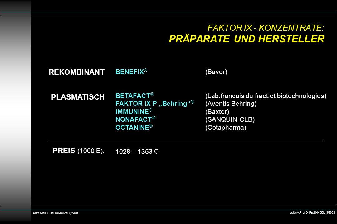 FAKTOR IX - KONZENTRATE: PRÄPARATE UND HERSTELLER