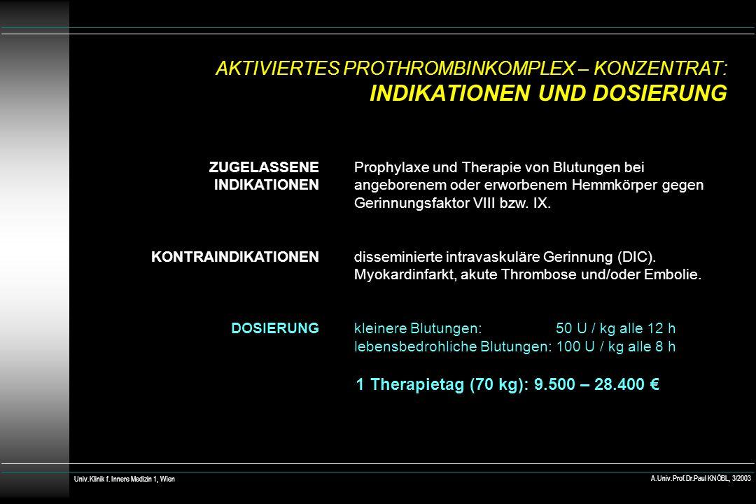 AKTIVIERTES PROTHROMBINKOMPLEX – KONZENTRAT: INDIKATIONEN UND DOSIERUNG