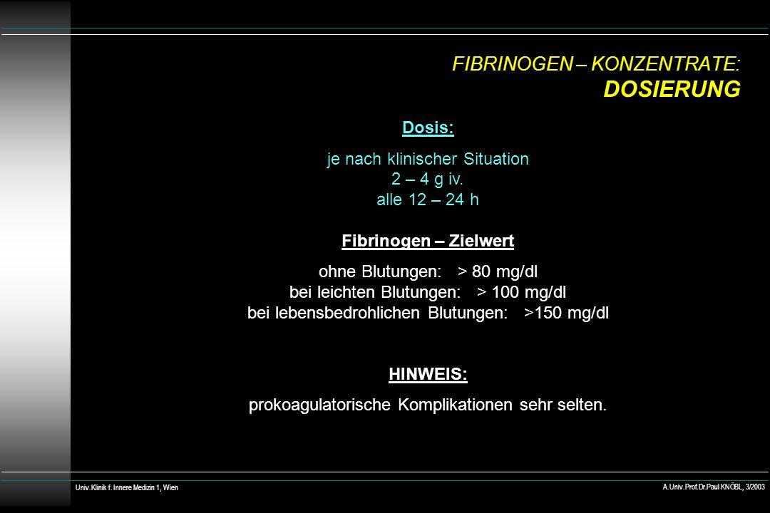 FIBRINOGEN – KONZENTRATE: DOSIERUNG