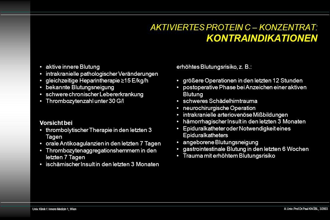 AKTIVIERTES PROTEIN C – KONZENTRAT: KONTRAINDIKATIONEN