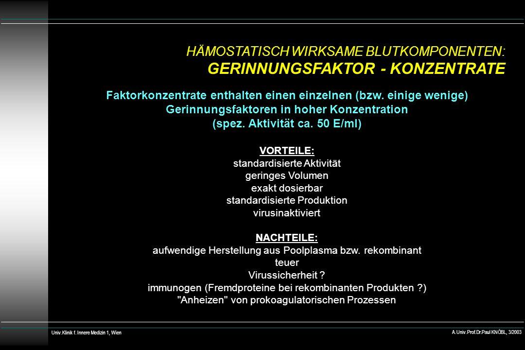 HÄMOSTATISCH WIRKSAME BLUTKOMPONENTEN: GERINNUNGSFAKTOR - KONZENTRATE