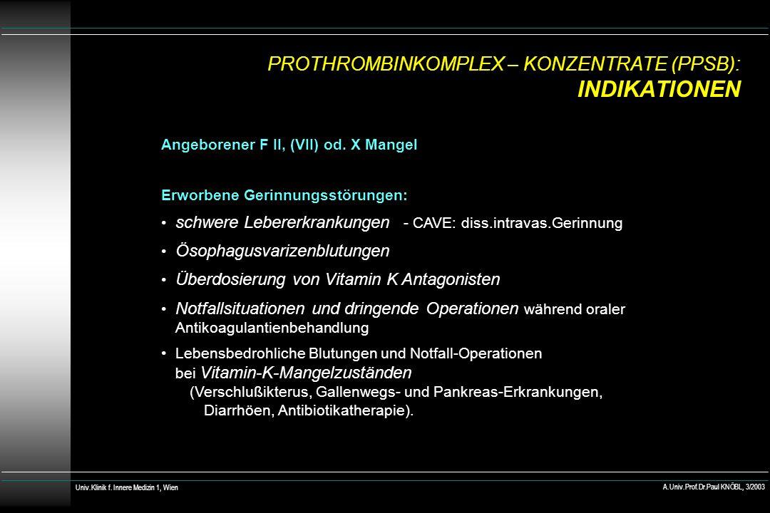PROTHROMBINKOMPLEX – KONZENTRATE (PPSB): INDIKATIONEN