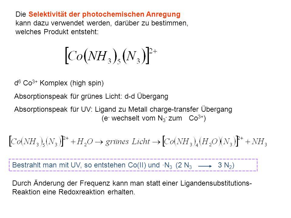 Die Selektivität der photochemischen Anregung kann dazu verwendet werden, darüber zu bestimmen, welches Produkt entsteht: