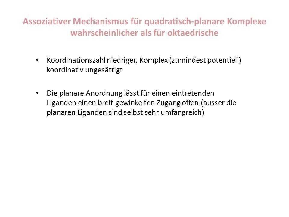 Assoziativer Mechanismus für quadratisch-planare Komplexe wahrscheinlicher als für oktaedrische