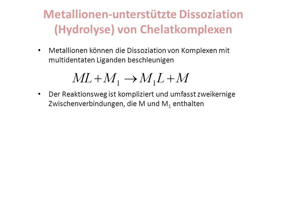 Metallionen-unterstützte Dissoziation (Hydrolyse) von Chelatkomplexen