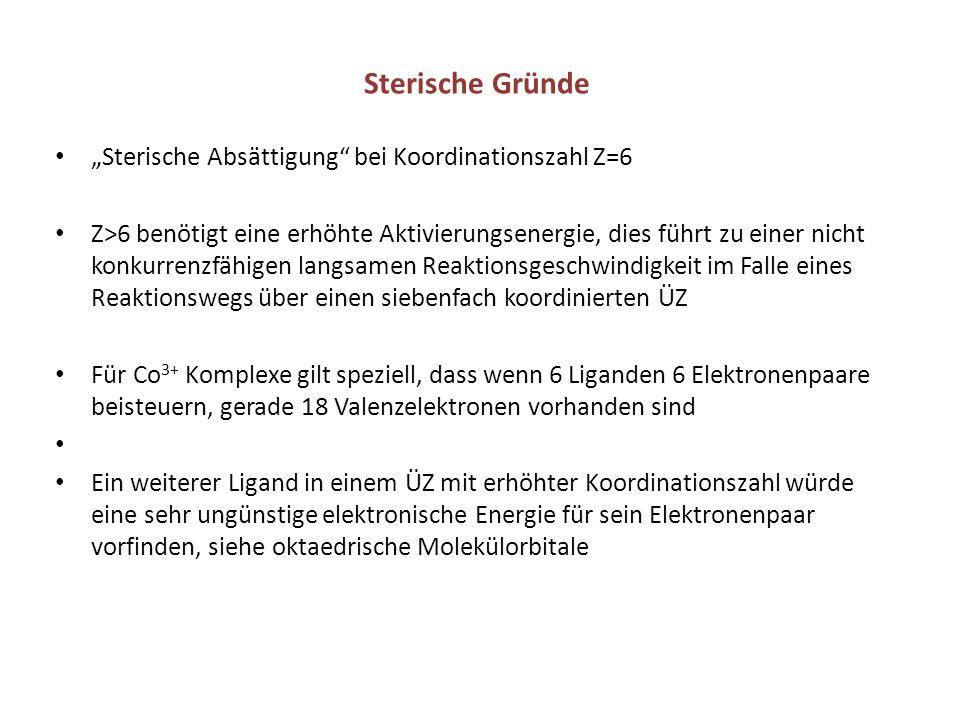 """Sterische Gründe """"Sterische Absättigung bei Koordinationszahl Z=6"""