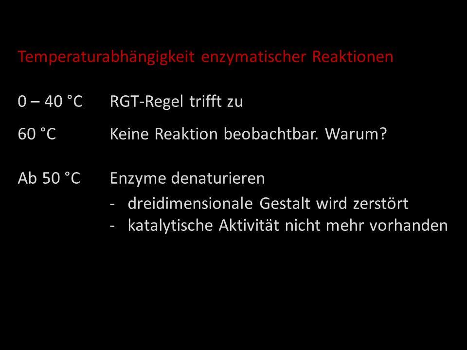 Temperaturabhängigkeit enzymatischer Reaktionen