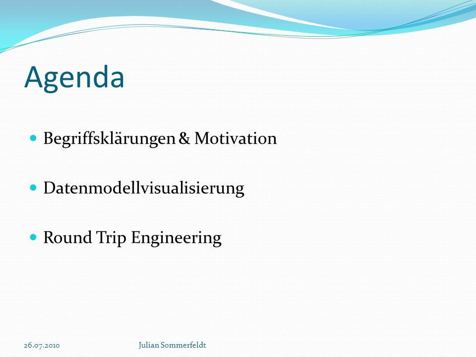 Agenda Begriffsklärungen & Motivation Datenmodellvisualisierung