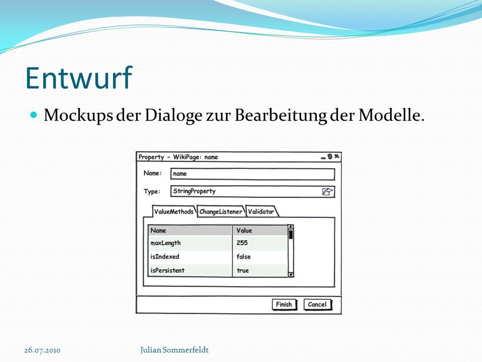 Entwurf Mockups der Dialoge zur Bearbeitung der Modelle. 26.07.2010