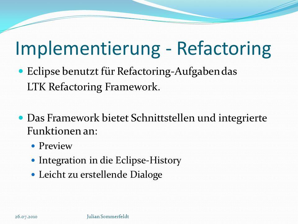 Implementierung - Refactoring