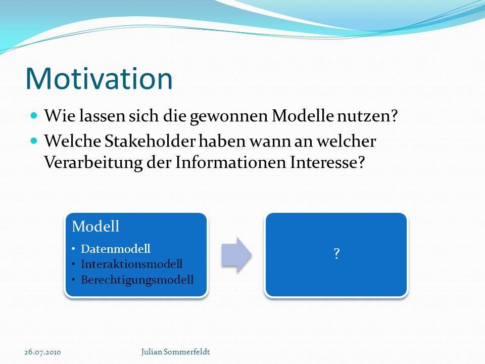 Motivation Wie lassen sich die gewonnen Modelle nutzen