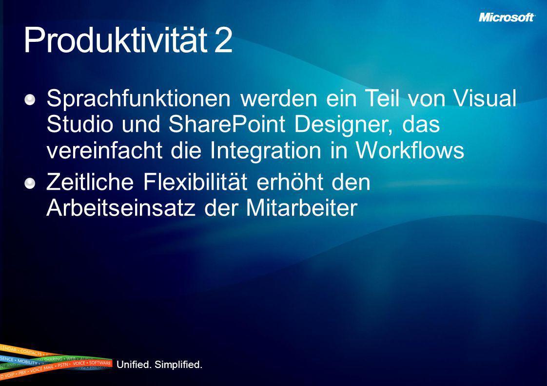 Produktivität 2 Sprachfunktionen werden ein Teil von Visual Studio und SharePoint Designer, das vereinfacht die Integration in Workflows.