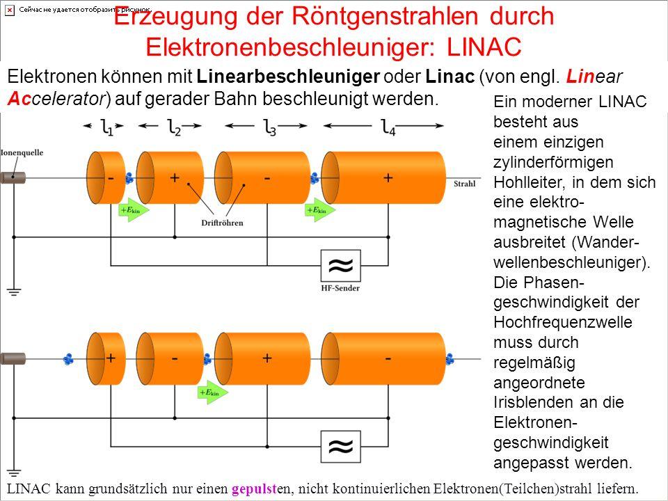 Erzeugung der Röntgenstrahlen durch Elektronenbeschleuniger: LINAC