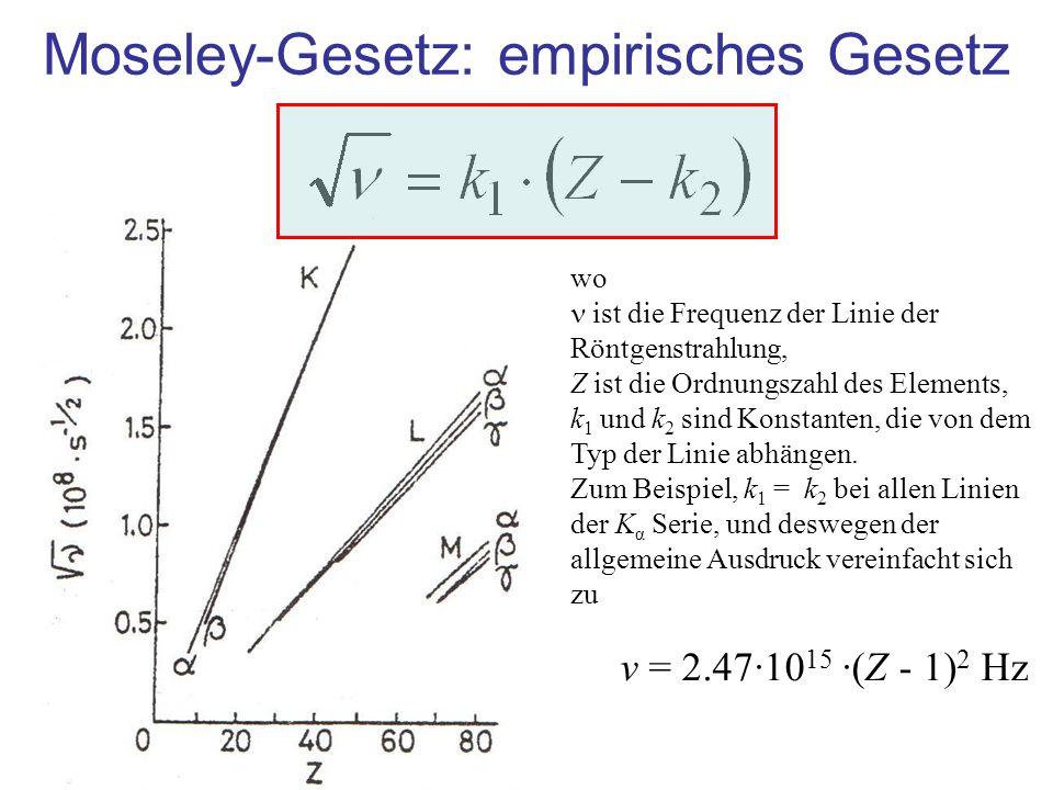 Moseley-Gesetz: empirisches Gesetz