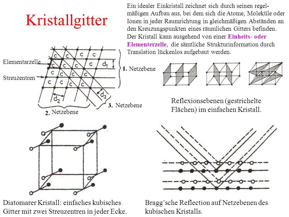Ein idealer Einkristall zeichnet sich durch seinen regel-mäßigen Aufbau aus, bei dem sich die Atome, Moleküle oder Ionen in jeder Raumrichtung in gleichmäßigen Abständen an den Kreuzungspunkten eines räumlichen Gitters befinden. Der Kristall kann ausgehend von einer Einheits- oder Elementerzelle, die sämtliche Strukturinformation durch Translation lückenlos aufgebaut werden.